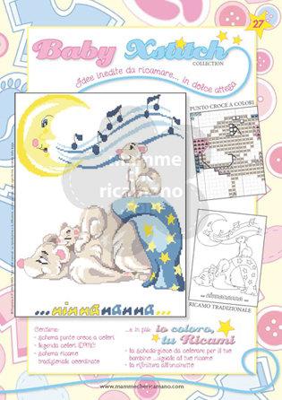 SCHEDA PUNTO CROCE PER COPERTINE CULLA E LETTINO - BABY XSTITCH COLLECTION N. 27
