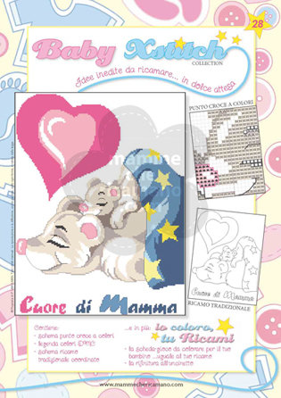 SCHEDA PUNTO CROCE PER COPERTINE CULLA E LETTINO - BABY XSTITCH COLLECTION N. 28