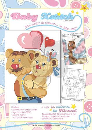 SCHEDA PUNTO CROCE PER COPERTINE CULLA E LETTINO - BABY XSTITCH COLLECTION N. 30