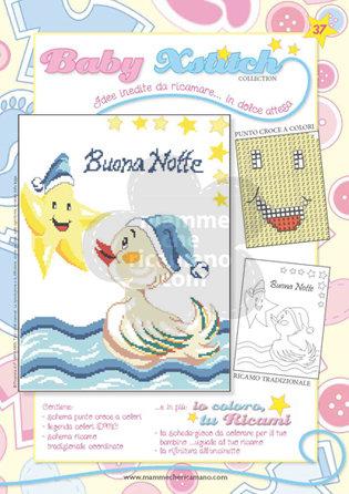 SCHEDA PUNTO CROCE PER COPERTINE CULLA E LETTINO - BABY XSTITCH COLLECTION N. 37