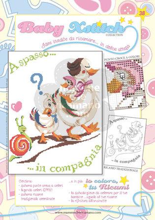 SCHEDA PUNTO CROCE PER COPERTINE CULLA E LETTINO - BABY XSTITCH COLLECTION N. 38