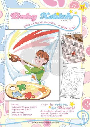 SCHEDA PUNTO CROCE PER COPERTINE CULLA E LETTINO - BABY XSTITCH COLLECTION N. 39