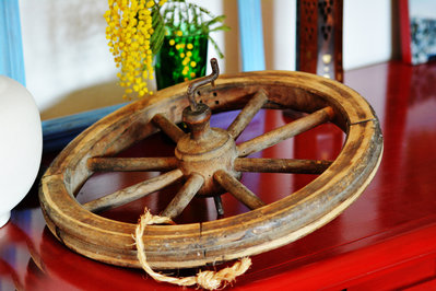 Ruota/puleggia arcolaio in legno antica