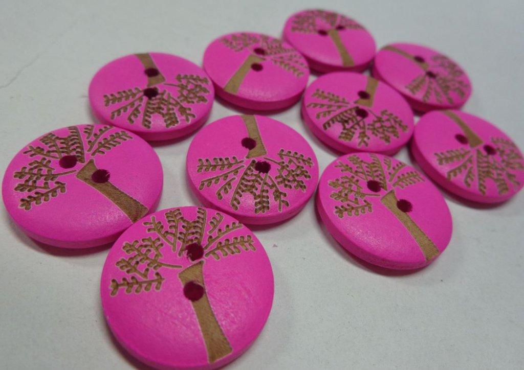 5 Bottoni in legno colore FUCSIA