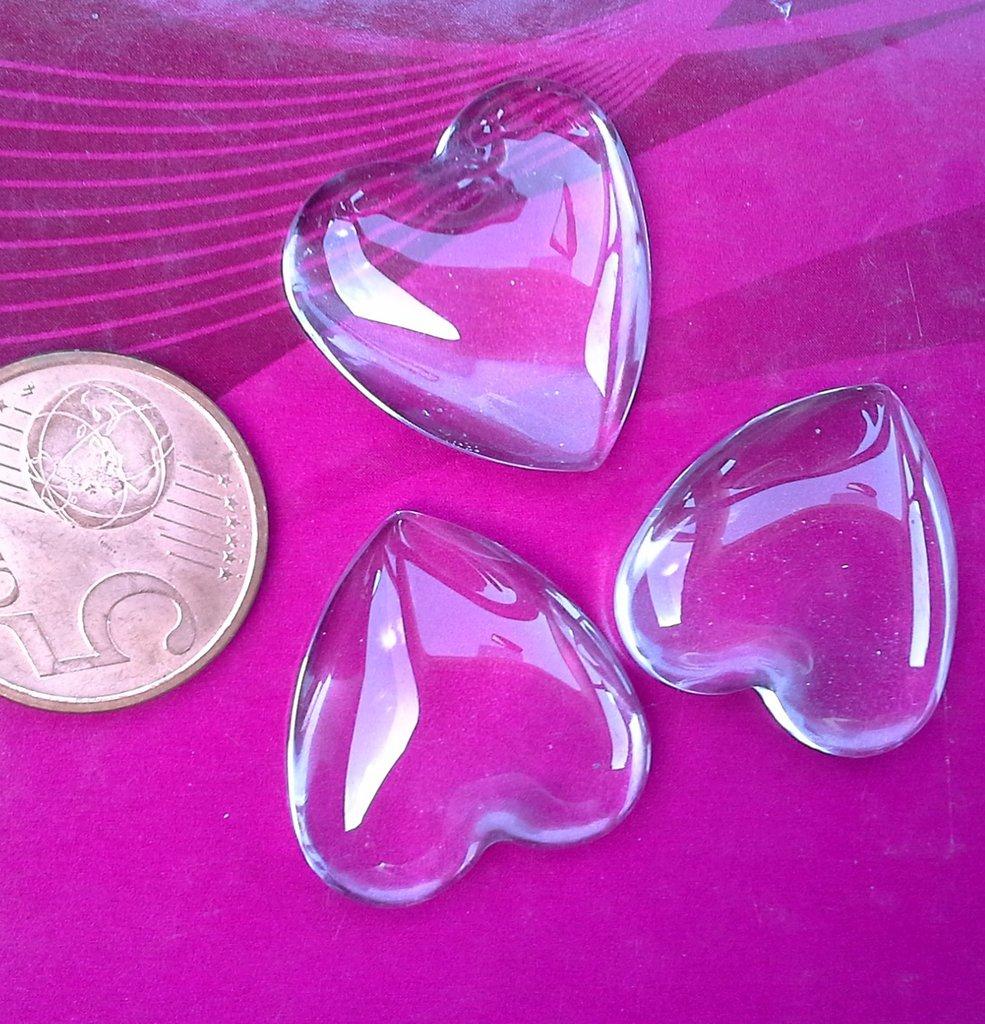 cupola vetro lente per cabochon a cuore 22x22mm