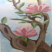 Magnolia dipinta a primavera