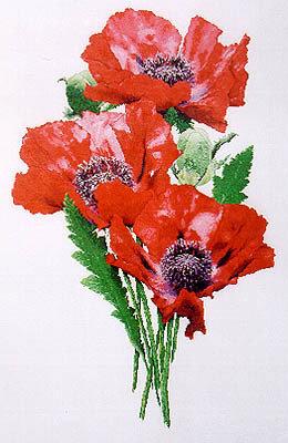 Oriental Poppies - Papaveri - Schema Punto Croce The Silver Lining