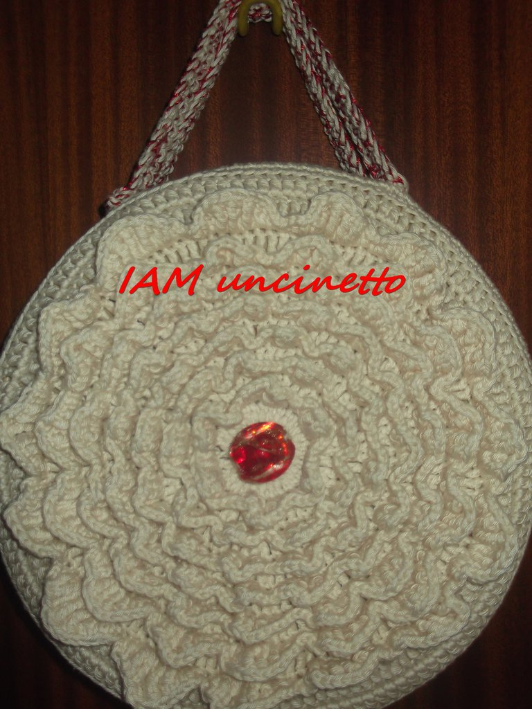 Exceptionnel Borsa rotonda rivestita all'uncinetto in cotone beige con manici  UD56
