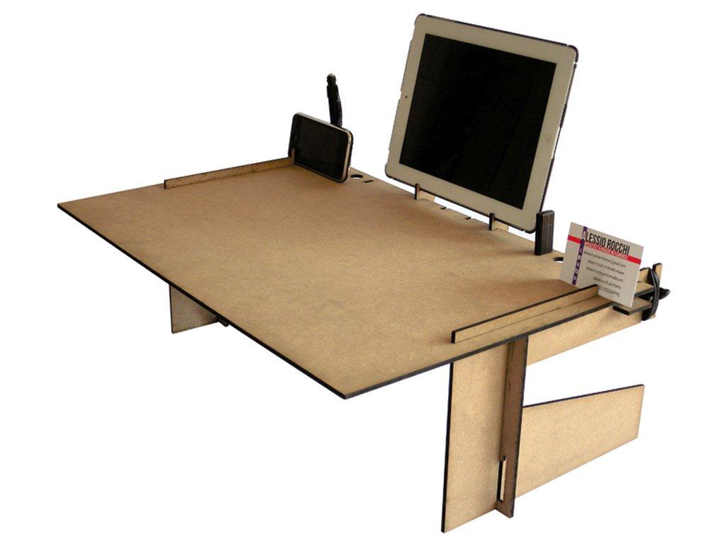 Crodesk, scrivania in legno geek da letto o divano organizer con display stand per smartphone e docking station per tablet
