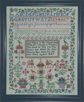 Ann Ward 1847 - Schema Punto Croce Riproduzione Sampler Antico