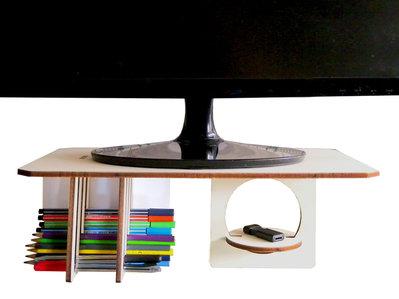 Skon, stand in legno per monitor con organizer per scrivania