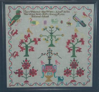 Mary Wiliams 1849 - Schema Punto Croce Riproduzione Sampler Antico