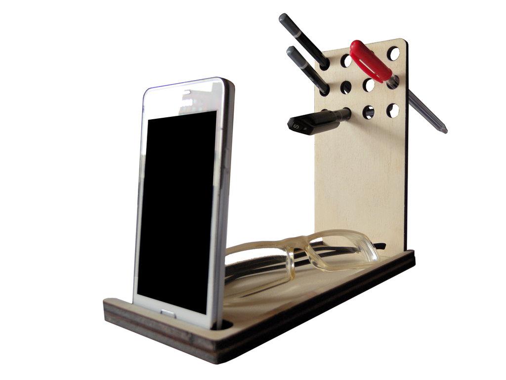 Papp, organizer - svuotatasche in legno per scrivania con portapenne e display stand per smartphone