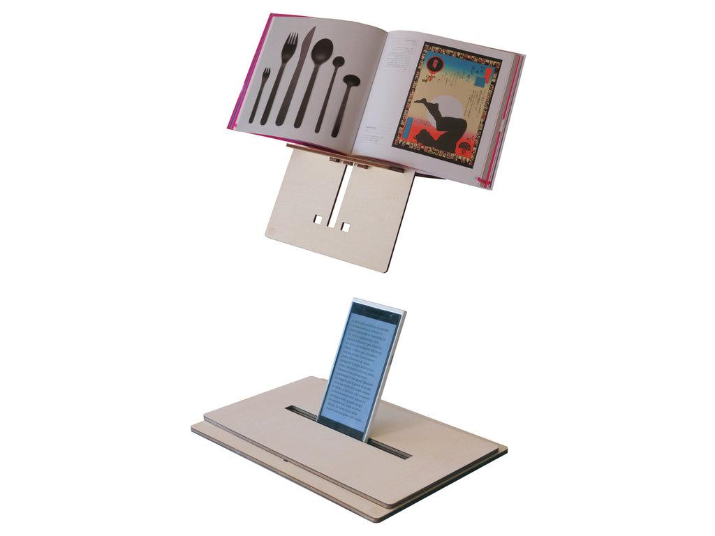 Reook, leggio trasportabile di legno e stand per ebook reader, tablet o phablet