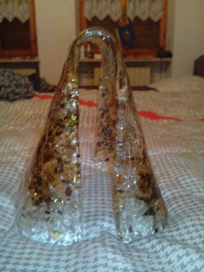 Vetro fazzoletto in vetro soffiato con avventurina