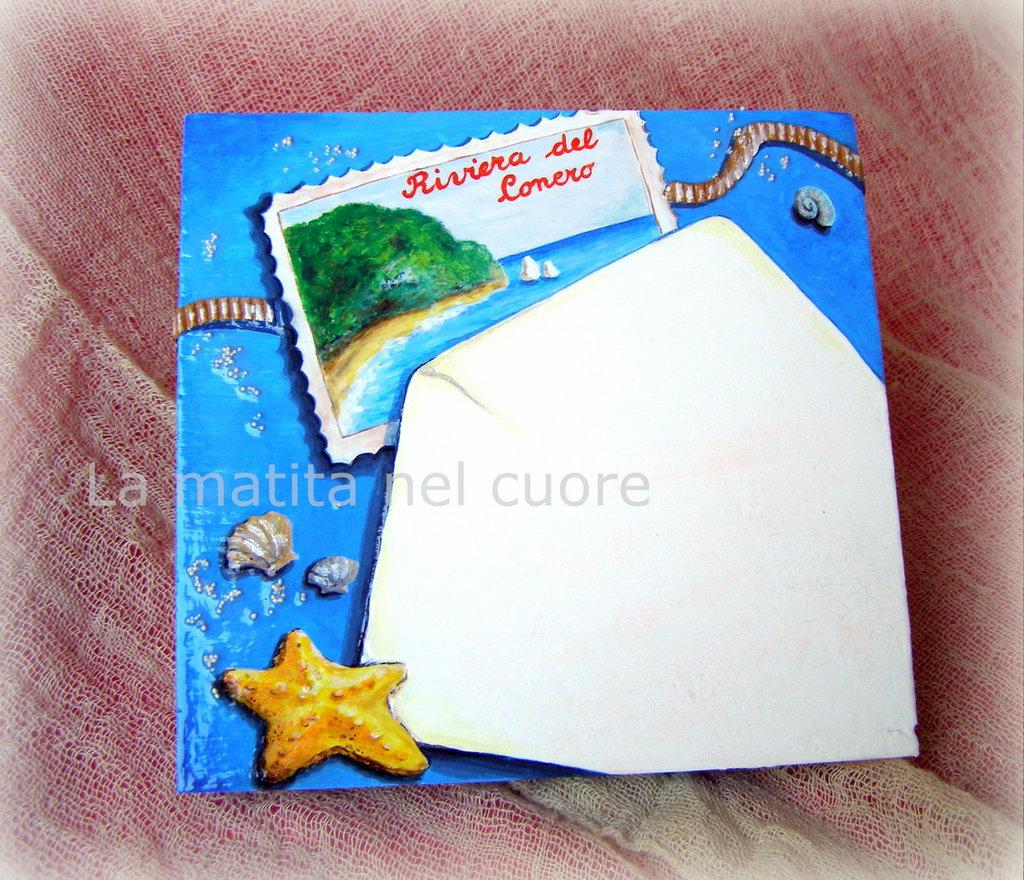 Lavagna piccola busta e cartolina dalla Riviera del Conero