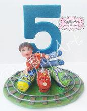 """Cake-topper """"Tutti in carrozza per il mio compleanno!!!"""""""