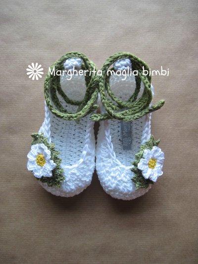 Scarpine ballerine neonata/bambina con margherite - uncinetto - puro cotone - Battesimo