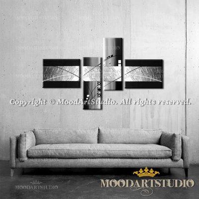 Quadro moderno astratto bianco, nero e argento con pittura in rilie ...