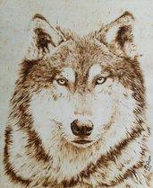 ritratto di LUPO - quadro - tecnica pirografia su legno