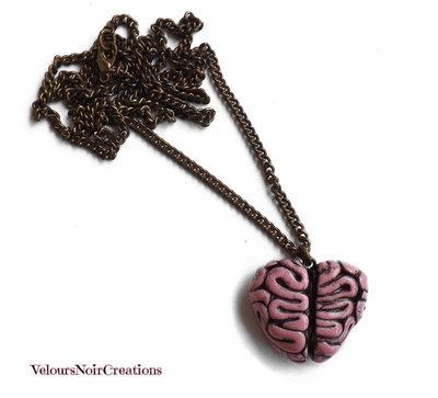 Collana in bronzo con cervello a cuore creato a mano steampunk vintage