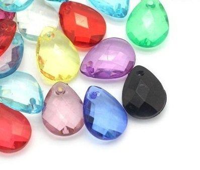 50 Ciondoli perle a forma di goccia in Acrilico 17 mm