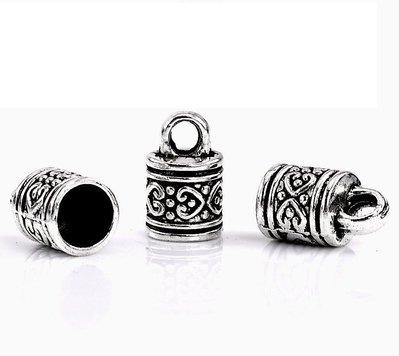 5 pezzi capocorda a cilindro argento antico x dia 8 mm
