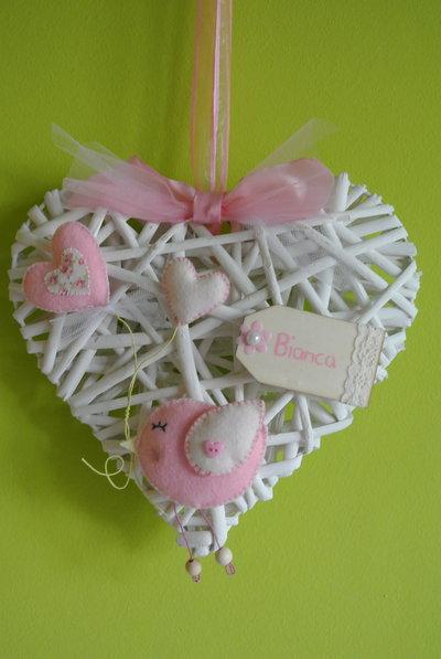 Fiocco nascita cuore rosa