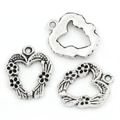 5 pz ciondoli, pendenti a cuore in metallo 2 cm