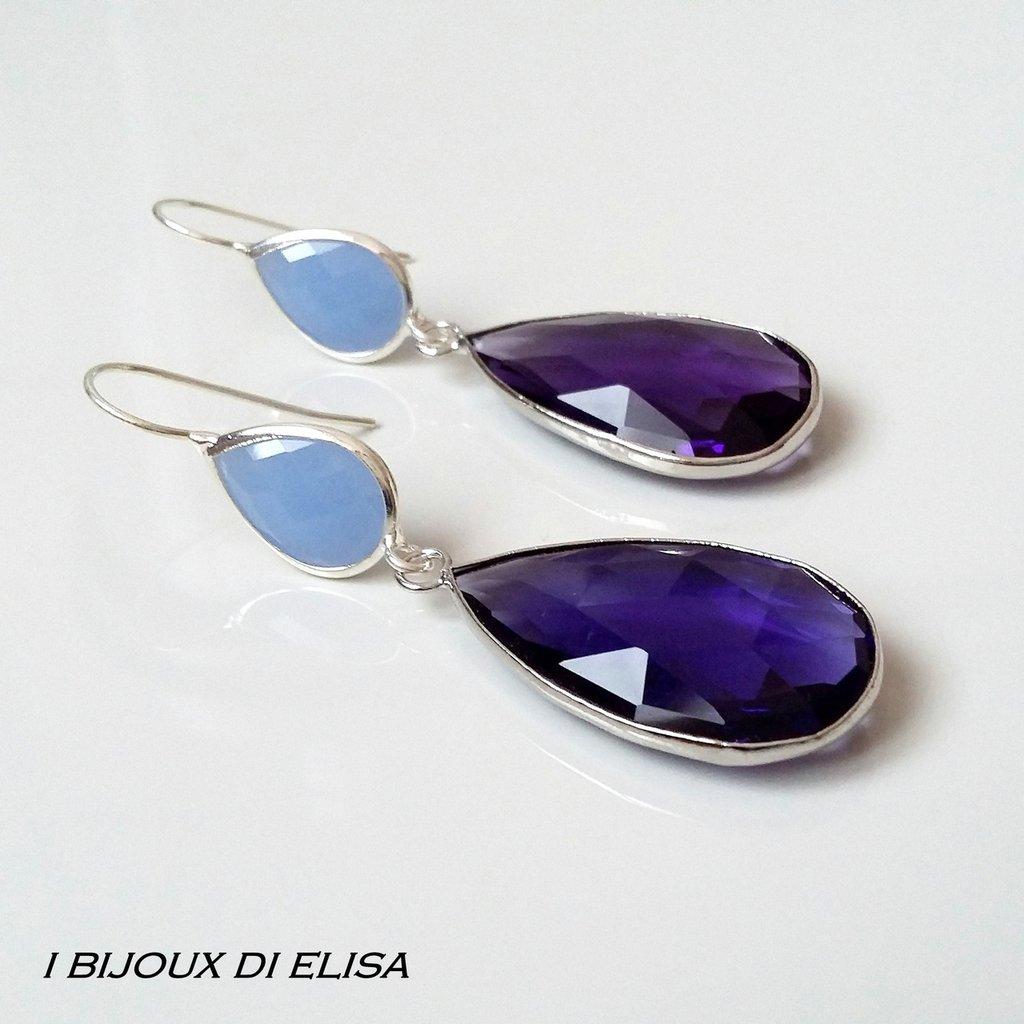 Orecchini con cristalli turchi viola e azzurro-grigio
