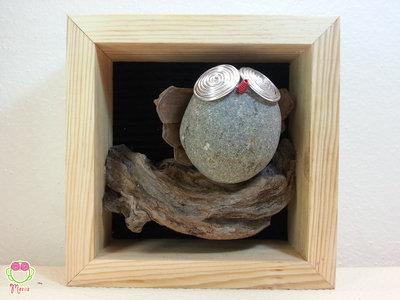"""Pebble art - Decorazione per camerette dei bambini - Owl wall art - Quadro 3d """"Gufone sul ramo di un'albero"""""""