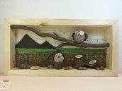 """Pebble art - Decorazione per camerette dei bambini - Owl wall art - Quadro 3d """"Gufetti ai piedi delle montagne"""""""