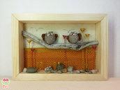 """Pebble art - Decorazione per camerette dei bambini - Owl wall art - Quadro 3d """"Gufetti innamorati tra papaveri e margherite"""""""