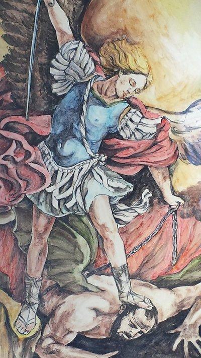 Immagine S. Michele su piatto in ceramica dipinto a mano
