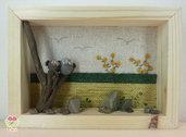 """Pebble art - Decorazione camerette dei bambini - Owl wall art - Quadro 3d """"Mamma gufo col suo piccolo"""""""