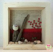 """Pebble art - Decorazione camerette dei bambini - Owl wall art - Quadro 3d """"Gufetto bianco tra le rose rosse"""""""