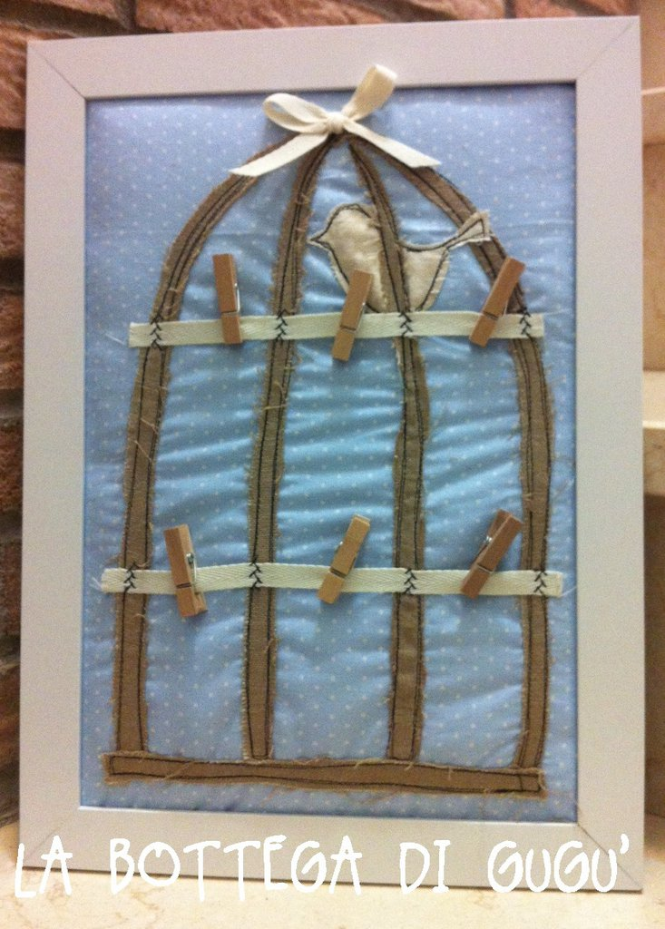 "Bacheca portamemo handmade ""Birdcage"" in stile shabby chic"