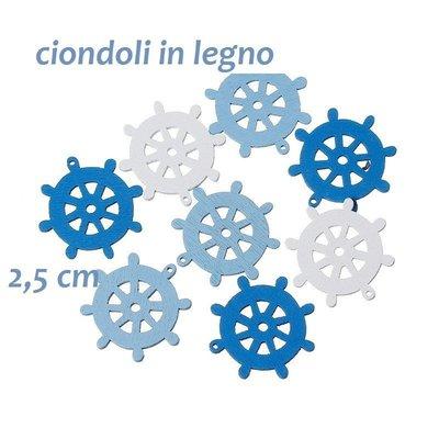 10 ciondoli, charms in legno forma timone 2 cm