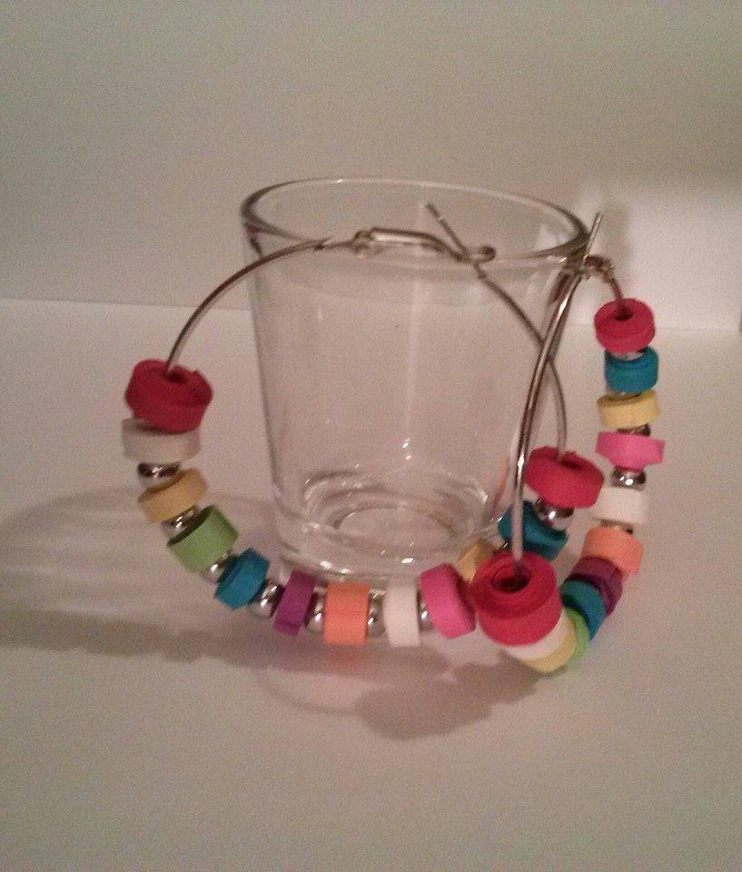 orecchini di carta, cerchio multicolor