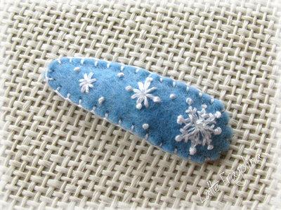 Ferma capelli,fiocco di neve,Molletta per capelli in pannolenci, Hair clip, frozen, Bambini,