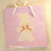 Sacchetto bambina con coniglietto per nascita e asilo fatto a mano♥