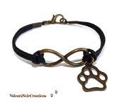 Bracciale bronzo simbolo infinito e ciondolo orma zampa cane