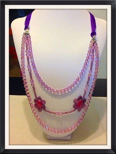 Collana fiore rosa e viola