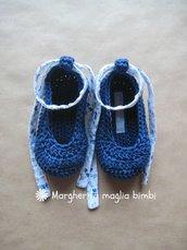 Scarpine ballerine bimba in puro cotone blu con laccetto in tessuto a fiori