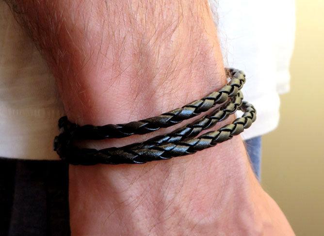 Bracciale pelle NERO uomo braccialetto 3 giri wrap intrecciato treccia