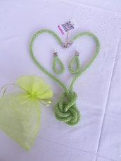 Parure collana - orecchini  LIGHT GREEN cm.130 rete
