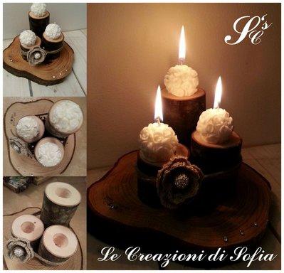 Porta candele in legno