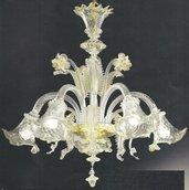 51- Lampadario 5 luci in vetro di murano cristallo oro con polvere oro nelle morise