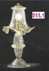 51- Lume 1 luce in vetro di murano cristallo con polvere oro nelle morise