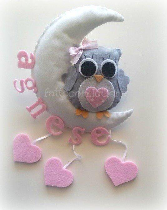 gufetto con luna e pendenti cuore rosa